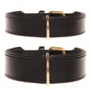 Extrem stabieles Lederhalsband Two Layer Black